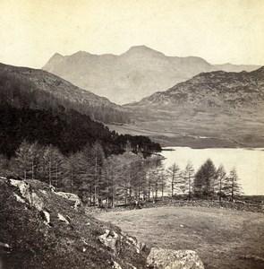 Lake District Blea Tarn Langdale Wordsworth Solitary Old Stereoview Photo 1865