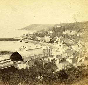 United Kingdom Jersey Saint Aubin Panorama Seaside Old Stereoview Godfray 1865