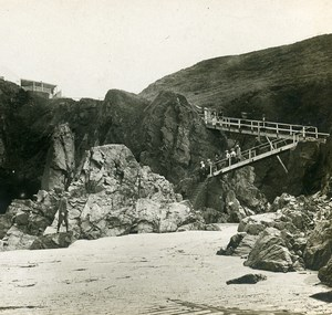United Kingdom Jersey Plemont Bay Old SIP Stereoview Photo 1900