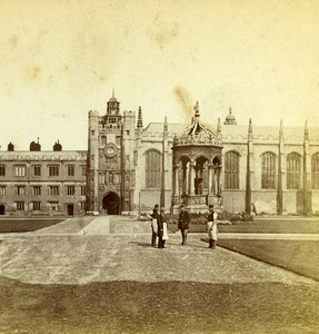 United Kingdom Cambridge Trinity College Old Stereoview Photo 1865