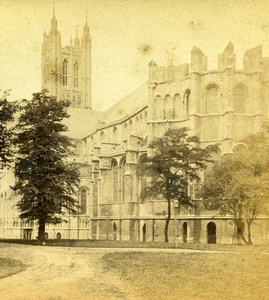 United Kingdom Canterbury Cathedral South East Side Old Stereoview Photo 1865