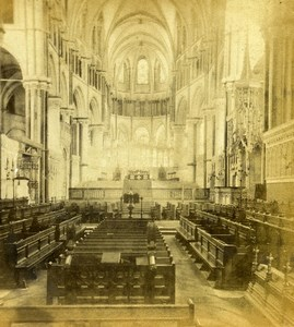 United Kingdom Canterbury Cathedral the Choir Old Stereoview Photo 1865