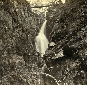 United Kingdom Lake District Ullswater Aira Force Old Stereoview Photo 1865