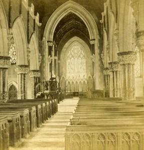 Pays de Galles Eglise de Bodelwyddan Church Interieur anciennne Photo Stereo 1865