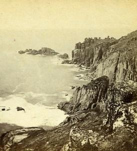 Royaume Uni Cornouailles Land's End bords de mer anciennne Photo Stereo CR Lobb 1865