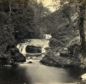 United Kingdom Devonshire Lynmouth Waterfalls Old Bedford? Stereoview Photo 1865