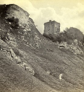 United Kingdom Tower Ruins on Rocky Hill Old Stereoview Photo 1865