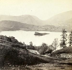 Royaume Uni Lake District Grasmere vue de Red Bank anciennne Photo Stereo 1865