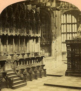 Londres Westminster Abbaye Chapelle Henry VII interieur anciennne Photo Stereo VA Prout Elliot 1865
