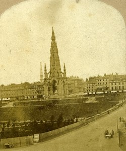 United Kingdom Scotland Edinburgh Scott Monument Old Stereoview Photo 1860