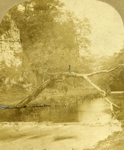 United Kingdom Midlands Peak District River Dove Old Stereoview Photo 1860