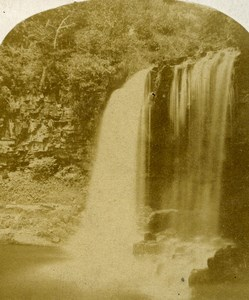 United Kingdom South Wales Vale of Neath Waterfall Old Stereoview Photo 1860