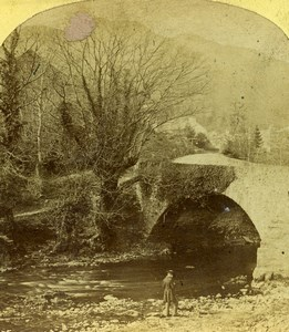 Lake District Westmoreland Brathay Bridge Old Stereoview Photo 1860