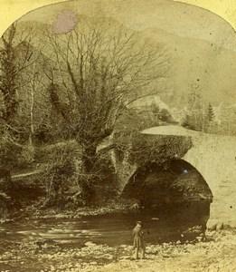 Lake District Westmoreland Brathay Bridge Old Stereoview Photo 1860