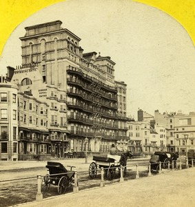United Kingdom Sussex Brighton Seafront Grand Hotel Old Stereoview 1865