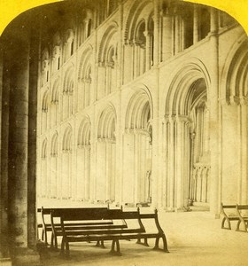 United Kingdom Peterborough Cathedral Nave Old Sedgfield Stereoview Photo 1865