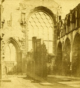 Scotland Edinburgh Holyrood Abbey Chapel Interior Old Stereoview Photo 1860