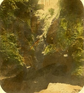 Scotland Finnich Glen near Loch Lomond Old John Cramb Stereoview Photo 1860