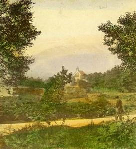Scotland Callander Trossachs Church Loch Achray Old Stereoview Photo 1865