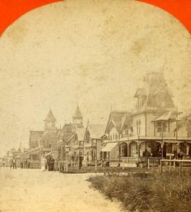 Massachusetts Martha's Vineyard Oak Bluffs Seafront Houses Stereoview Photo 1880