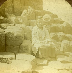 Ireland Giant's Causeway Wishing Chair Stereoview Photo Wright Exclesior 1897