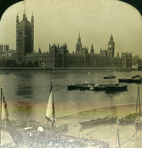 United Kingdom London Houses of Parliament Thames River Old Stereoview 1902
