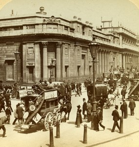 London Bank of England Busy Street Stereoview Underwood Strohmeyer & Wyman 1896