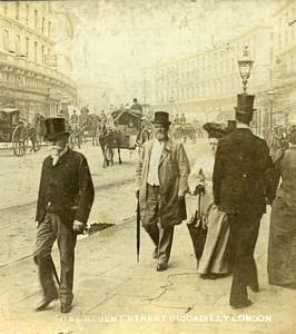 United Kingdom London Regent Street Piccadilly Old Stereoview Photo 1900