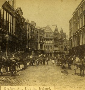 Ireland Dublin Grafton Street Busy Old Stereoview Photo Popular Series 1875