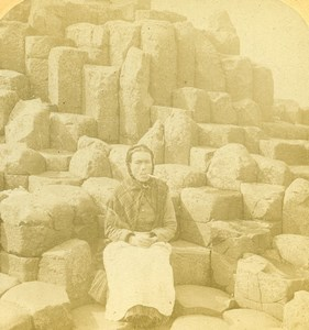 Ireland Giant's Causeway Wishing Chair Stereoview Photo Underwood Jarvis 1887