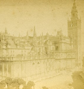 Spain Sevilla Seville Cathedral Old Stereoview Photo 1888