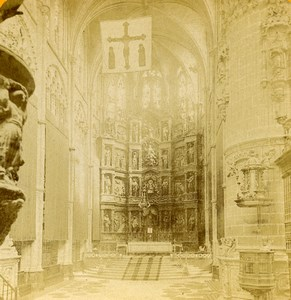Spain Burgos Cathedral interior Nave & Altar Old Stereoview Photo 1888