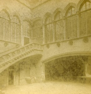 Spain Barcelona Barcelone Audiencia Courtyard Old Stereoview Photo 1888