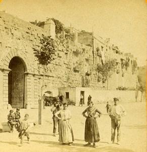 Espagne Tarragone Tarragona Porte Saint Antoine Remparts ancienne Photo Stereo 1888