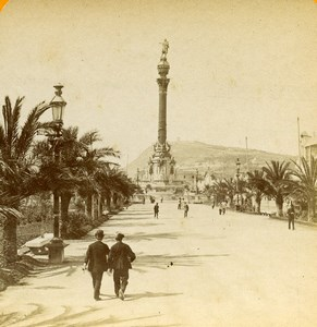Spain Barcelona Columbus Monument Old Stereoview Photo 1888