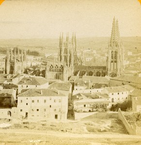 Spain Burgos Cathedral Panorama View from Castle Old Stereoview Photo 1888