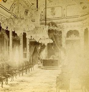 Espagne Cadix Cádiz salon de la Députation Provinciale ancienne Photo Stereo 1888