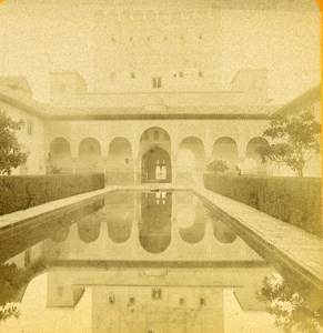 Espagne Grenade Alhambra Cour des Myrtes Tour de Comares ancienne Photo Stereo 1888
