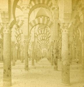 Espagne Cordoue Cordoba interieur de la Mosquée ancienne Photo Stereo 1888