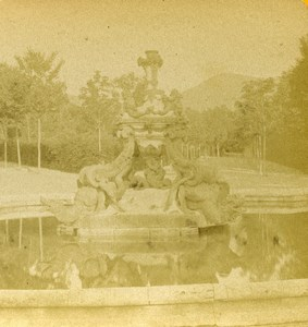 Spain La Granja de San Ildefonso Fountain of Dragoons Old Stereoview Photo 1888