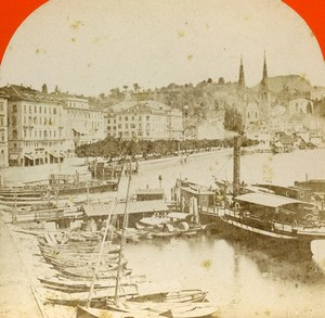 Switzerland Alps Lucerne Luzern Harbour General View Old Stereoview Photo 1875