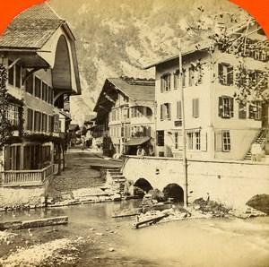 Switzerland Alps Unterseen near Interlaken Old Stereoview Photo 1875