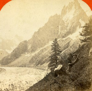 France Alps Charmoz Glacier Montanvert Old Stereoview Photo Lamy 1875
