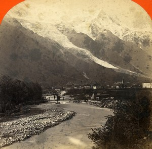 France Alpes Chamonix Panorama Montagne ancienne Photo Stereo Lamy 1875