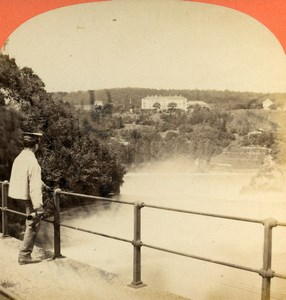 Switzerland Schaffhouse Rhine Waterfall Old Stereoview Photo Lamy 1875