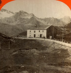 Switzerland Tyrol Albula Pass Restaurant Old Stereoview Photo Unterberger 1875