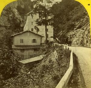 Suisse Alpes ?St. Gallen Bad Pfäfers ancienne Photo Stereo 1875