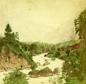 Suisse Alpes bernoises Vallée Riviere Innerer Fisistock Doldenhorn ancienne Photo Stereo 1875