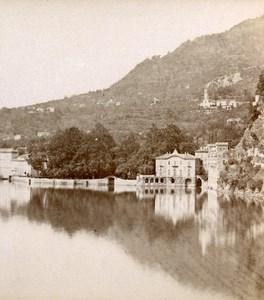 Italie Lac de Come Cernobbio ancienne Photo Stereo Brogi 1880