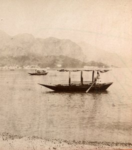 Italy Lake of Como Cadenabbia Tremezzo Boat Old Stereoview Photo Brogi 1880